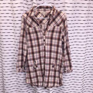 Plaid button down dress / tunic